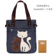 Classic Canvas Tote Bag Casual Elegant Shoulder Bag Clever Cat Handbags the Best Gift Blue by KAUKKO