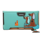 Bluelans® Women's Lovely Puppy Dogs Long Faux Leather Bifold Wallets Purse