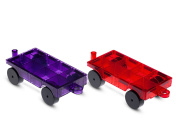Playmags 2 Piece Car Set - Compatible with All Magnetic Tiles-Colours May Vary