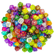 Wiz Dice Series II 100+ Pack of Random Polyhedral Dice - 15 Guaranteed Sets of Random Colours