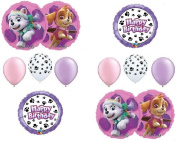 PAW PATROL SKYE & EVEREST 10 PC. Birthday Balloons Decoration Supplies Party Chase Ryder
