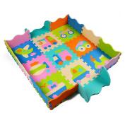 Tianmei Transport Style Kids Foam Playmats w/Fence Edges Soft Large EVA Foam Jigsaw Puzzle Mats - 0.3m Floor Tiles 90cm x 90cm