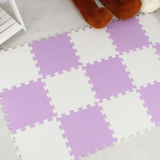 Tianmei 10 Piece Interlocking Foam Play Mat Set Soft Kids Baby EVA Activity Puzzles Mat Floor Tiles, White and Purple