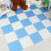 Tianmei 10 Piece Interlocking Foam Play Mat Set Soft Kids Baby EVA Activity Puzzles Mat Floor Tiles, White and Sky Blue