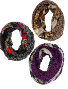 Crochet Mixed Media Scarves In Black Brown And Purple Set of 3