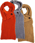 Cosy Knit Scarves With Buttons Set of 3