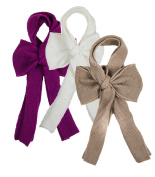 Knit Fashion Scarves With Large Bows Set of 3