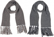 Classic Chevron Black And Brown Knit Scarves Set Of 2