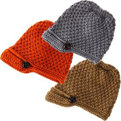Classic Camel Orange And Light Grey Button Brim Knit Hats Set Of 3