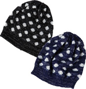 Playful Polka Dot Knit Hats In Black And Indigo Set of 2