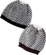Classic Chevron Black And Brown Knit Hats Set Of Two