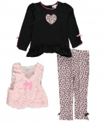 """Quiltex Baby Girls' """"Rosy Swirls"""" 3-Piece Outfit"""