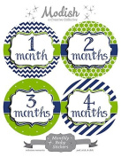 12 Monthly Baby Stickers, Boy, Nautical, Navy, Blue, Lime Green, Green, Baby Belly Stickers, Monthly Onesie Stickers, First Year Stickers Months 1-12, Stripes, Chevron, Baby Boy