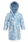 12-18 months - Baby Boys Gorgeous Blue and White Stars Hooded Dressing Gown Robe