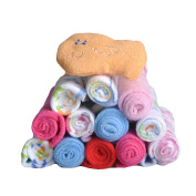 Bebamour Pack of 12PCS Cotton Soft Baby Washcloths Colourful Mini Travel Towel