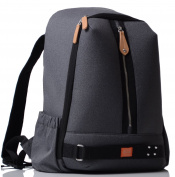 PacaPod Picos Pack Black Charcoal Designer Baby Changing Bag - Unisex Luxury Black Backpack 3 in 1 Organising System