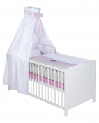 Julius Zöllner 5790615222 with Cot Bumper, 3-Piece Bed Set with Canopy and Bedding, Dream Heart Pink