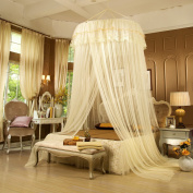 DEBON Bed Canopy Mosquito Net, Round Hoop Lace Girl's Bedding Canopy Netting Curtains