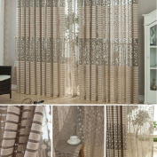 V-EWIGE Jacquard Curtains Bedroom Living Room Screens Simple And Comfortable Breathable Hollow Voile Door Window Curtain Drape Panel Sheer Scarf Valances New