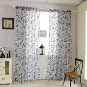QHGstore Sweet Butterfly Tulle Voile Door Window Curtains Drape Sheer Divider,It contains only window screening, not including curtains Black