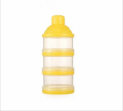 Hosaire 1X Baby Kids Travel Portable Milk Powder Formula Dispenser Container Pot Box 3 Compartment rice milk cans storage box Artefact, Yellow