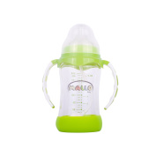 High Quality Borosilicate 210ml Glass Baby Bottle by Mallo Baby - including a rubber base for added protection FREE straw BPA Free - Best Feeding Bottles For Infants, Newborns, and Toddlers shower gifts