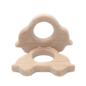 Coskiss Original 2pcs Wooden Cars Baby Teethers Rings Handmade Wooden Toys DIY Pendent