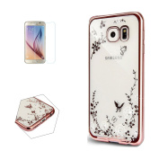 Samsung Galaxy S7 Edge Case (With Free Tempered Grass Screen Protector) Sireken Transparent Soft Rubber Jelly Silicone Gel TPU Beautiful Printed Butterfly Design Shockproof Cover Skin Case for Samsung Galaxy S7 Edge-