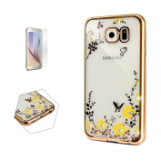 Samsung Galaxy S6 Case (With Free Tempered Grass Screen Protector) Sireken Transparent Soft Rubber Jelly Silicone Gel TPU Beautiful Printed Butterfly Design Shockproof Cover Skin Case for Samsung Galaxy S6-