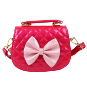 Happy Cherry Girls Elegant quilted Bowknot PU Shoulder Bag Hangbag Purse - Rose