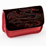 Tribal 10002, Dragon, Red School Kids Sublimation High Quality Polyester Pencil Case Pencil-box with Colourful Printed Design.21x12 cm.