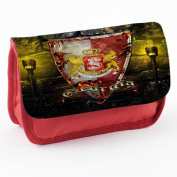 Coat of Arms Georgia, Red School Kids Sublimation High Quality Polyester Pencil Case Pencil-box with Colourful Printed Design.21x12 cm.