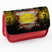 Coat of Arms Japan, Red School Kids Sublimation High Quality Polyester Pencil Case Pencil-box with Colourful Printed Design.21x12 cm.