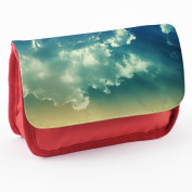 Stuff 10045, Sky, Red School Kids Sublimation High Quality Polyester Pencil Case Pencil-box with Colourful Printed Design.21x12 cm.