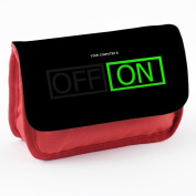 Stuff 10040, Off On, Red School Kids Sublimation High Quality Polyester Pencil Case Pencil-box with Colourful Printed Design.21x12 cm.