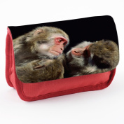 Monkeys 10004, Ape, Red School Kids Sublimation High Quality Polyester Pencil Case Pencil-box with Colourful Printed Design.21x12 cm.