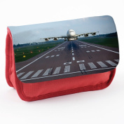 Around The World 10010, Aeroplane, Red School Kids Sublimation High Quality Polyester Pencil Case Pencil-box with Colourful Printed Design.21x12 cm.