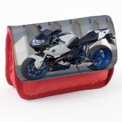 Motorbikes 10006, Motorcycle, Red School Kids Sublimation High Quality Polyester Pencil Case Pencil-box with Colourful Printed Design.21x12 cm.
