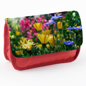 Flowers 10030, Flowerfields, Red School Kids Sublimation High Quality Polyester Pencil Case Pencil-box with Colourful Printed Design.21x12 cm.