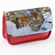 Wild Animals 10002, Tiger, Red School Kids Sublimation High Quality Polyester Pencil Case Pencil-box with Colourful Printed Design.21x12 cm.