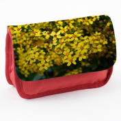 Flowers 10024, Yellow Flower, Red School Kids Sublimation High Quality Polyester Pencil Case Pencil-box with Colourful Printed Design.21x12 cm.