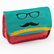 Hipster 10013, Moustache, Red School Kids Sublimation High Quality Polyester Pencil Case Pencil-box with Colourful Printed Design.21x12 cm.