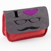 Hipster 10030, Moustache, Red School Kids Sublimation High Quality Polyester Pencil Case Pencil-box with Colourful Printed Design.21x12 cm.