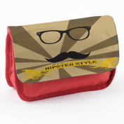 Hipster 10001, Moustache, Red School Kids Sublimation High Quality Polyester Pencil Case Pencil-box with Colourful Printed Design.21x12 cm.