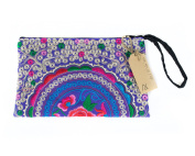 Lanna Lanna Hmong Wristlet - Hill Tribe Boho Clutch Purse / Zipped Embroidered Hmong Bag Wristlet with Bright Circle Designs and Zipped Inside Pocket