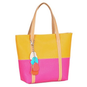 Enjoydeal Fashion Women Mixed Colour Totes Pandent Shoulder Bag Lady Handbag Yellow