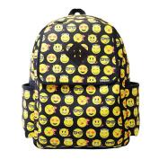 Women Canvas Backpacks,TefamoreSmiley Emoji Face Printing Schoolbag