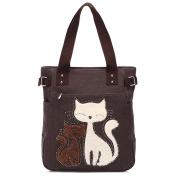 Ladies Fashion Vintage Canvas Cute Cat Design Handbag Women Casual Simplified Style Tote Elegant Daypack School Bag Shopper Bag for Teenager Girl