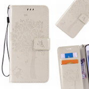 LEMORRY Samsung Galaxy A3 A300F Case Leather Flip Wallet Pouch Slim Fit Bumper Protection Magnetic Strap Stand Card Slot Soft TPU Cover for Galaxy A3 A300F, Lucky Tree Champagne Gold