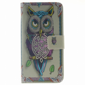 LEMORRY Huawei Honour 5X Case Leather Flip Wallet Pouch Slim Fit Bumper Protection Folio Magnetic Stand Card Slot Soft TPU Cover for Huawei Honour 5X (Honour X5, Huawei GR5), Classic Owl